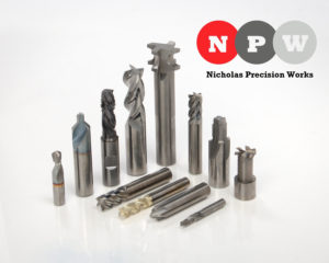 Nicholas Precision Works logo and 12 solid carbide engineered specials.