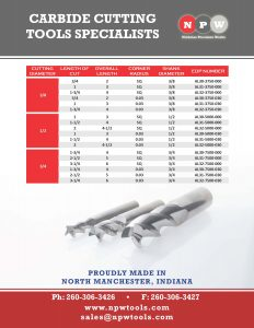 Nicholas Precision Works Flyer for high performance endmills for aluminum
